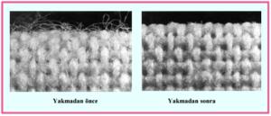 Resim 1. 1: Yakma öncesi ve yakma sonrası kumaş yüzeyi