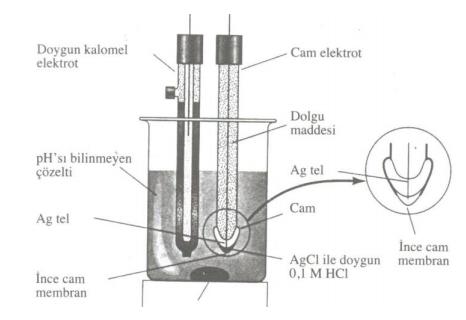 pH metrede cam ve kalomel elektrot sistemi